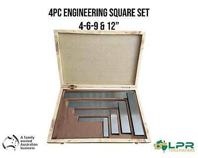 "Engineering Precision square Set Gound steel thick blade sizes 4-6-9 & 12"" 4pc"