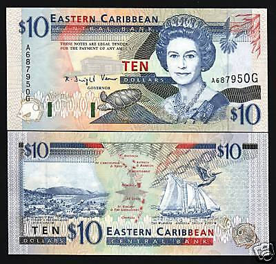 EAST CARIBBEAN STATES GRENADA $10 P32G 1994 QUEEN SHIP TURTLE UNC CURRENCY NOTE