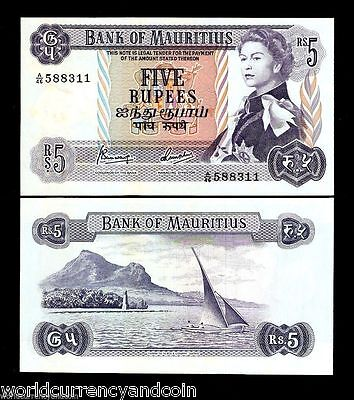 Mauritius 5 Rupees P30 1967 Queen Boat Bird Unc Africa Currency Money Bill Note