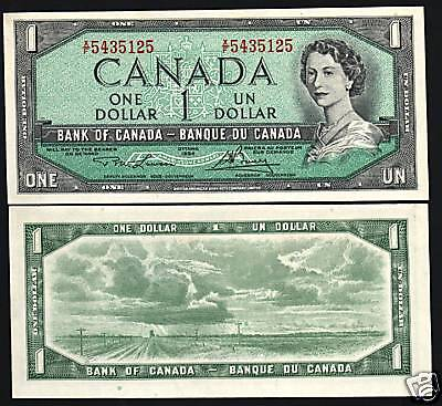 Canada 1 Dollar P75D 1954 Young Queen Prairie Unc Canadian Currency Money Note