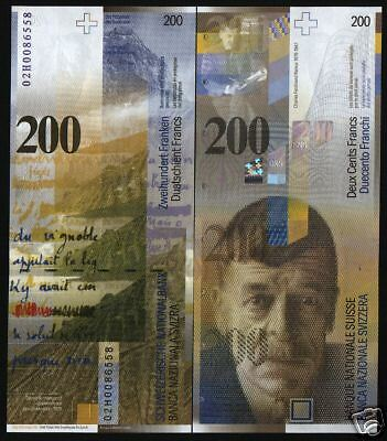 Switzerland 200 Francs P73 2006 Lake Geneva Unc Currency Money Bill Bank Note