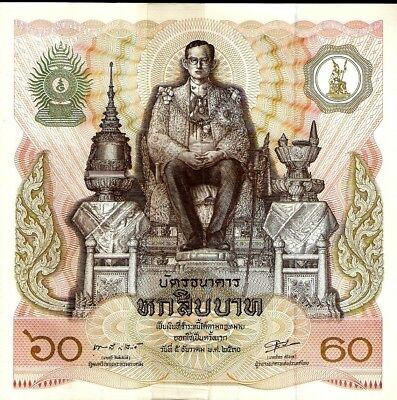 Thailand 60 Baht P93 1987 Commemorative Large Unc King Bhumibol Money Bill Note