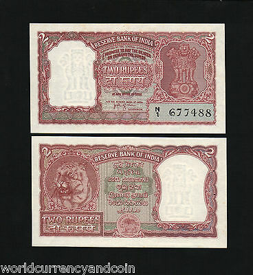 India 2 Rupees P29B 1962 Tiger Unc Hvi Rare Currency Money Bill Indian Bank Note