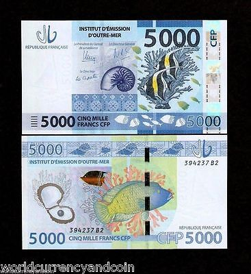French Pacific Territories 5000 Francs 2014 Snail Oyster Pearl Fish Unc Fpt Note