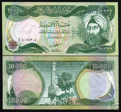 Iraq 10000 10,000 Iraqi Dinar P95 2003 Physicist Mathematician Unc Currency Note