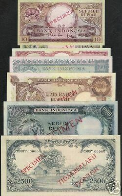 Indonesia 5 10 50 100 500 1000 2500 Rupiah 49 50-54 1957 Unc Animal W/o Pmg Note