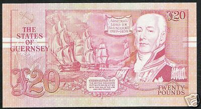 Guernsey 20 Pounds P55 1995 Ship Gibraltar Bay Frigate Unc Currency Money Note