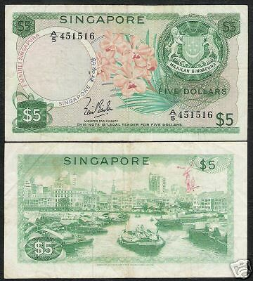 """Singapore $5 P2A 1967 Boat Orchid Error """"with Out Seal"""" Scarce Note"""
