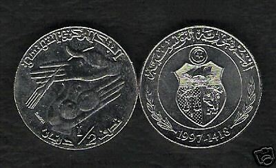 Tunisia 1/2 Half Dinar Km346 1997 Hand Fruit Currency Money Africa Tunisian Coin