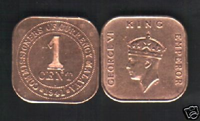 Malaya Malaysia 1 Cent Km2 1939-1941 Kgvi Square Singapore Currency Money Coin