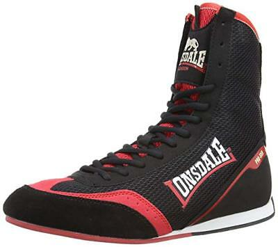 New Lonsdale Mitchum 1 Pro Boxing Shoe Black Red Mens Adult Lightweight Boots