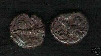 India Kashmir 800 Ad Medieval Bronze Seated Goddess Indian State Ancient Coin