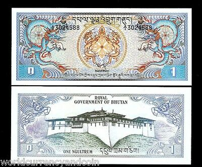 Bhutan 1 Ngultrum P5 1981 *a/1* Dragon Large Unc Saarc Currency Money Bill Note