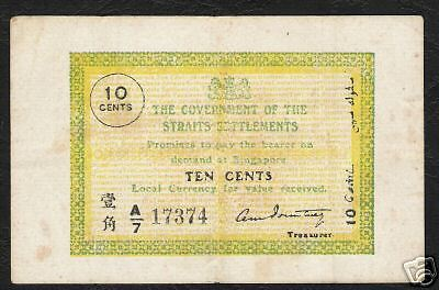 Straits Settlements 10 Cents P6C 1919 Rare Xf Malaysia Singapore Currency Note