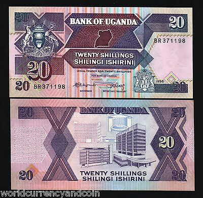 Uganda 20 Shillings P29 1988 Map Crane Unc Currency Money Bill Wild Bank Note
