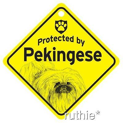 Protected by Pekingese Dog Window Sign Made in USA