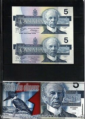 Canada 5 Dollars P95 1986 Uncut King Fisher Laurier Unc Money Bank Note + Folder