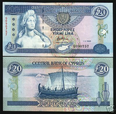 Cyprus 20 Pounds P56 1993 Bust Euro Art Boat Unc Rare Note