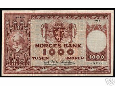 Norway 1000 Kroner P35 1968 Child Crown Xf-Au Large Rare Norwegian Currency Note