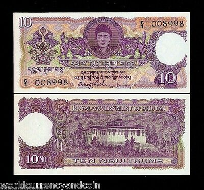 Bhutan 10 Ngultrum P3 1974 First Issue Unc King Dzong Rare India Security Note