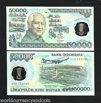 Indonesia 50000 Rupiah P134 1993 *polymer*plane Suharto Unc Currency Note+Folder