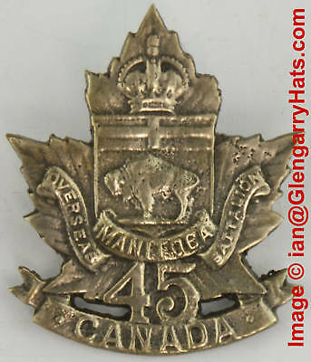 WW1 CEF 45th Brandon Manitoba Silver Plate Cap Badge