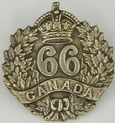 WW1 CEF 66th Edmonton Alberta Silver Plate Cap Badge