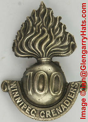 WW1 100th Winnipeg Grenadiers Silver Plate Cap Badge