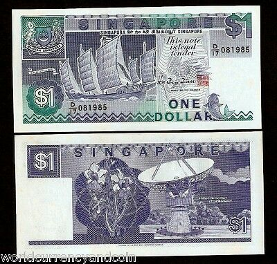 Singapore $1 P18B 1987 Brunei Ship Fish Satellite Unc Currency Money Bill Note