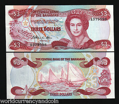 Bahamas 3 Dollars P44 1974 Ship Queen Unc Currency Money Bill Caribbean Banknote