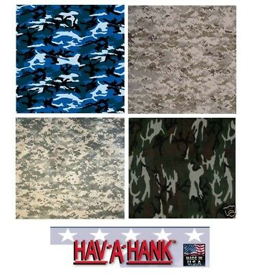 "*USA MADE 12 MIXED CAMO CAMOUFLAGE MILITARY 22"" BANDANAS Bandana Head Wrap Scarf"