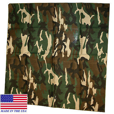 12-Hav-A-Hank*USA MADE BANDANA HARDWOOD GREEN ARMY CAMO CAMOUFLAGE Head Scarf