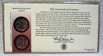 2002 Indiana  First Day Cover  Sealed Cello  Q28 -  P & D Mint State Quarters