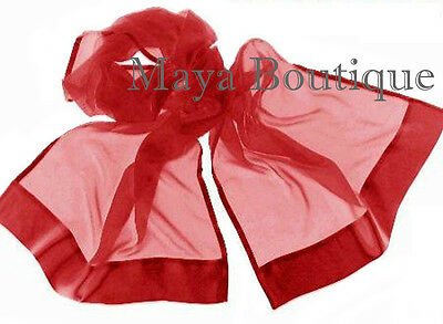 Maya Red Chiffon Silk Shawl Scarf Wrap Satin Border