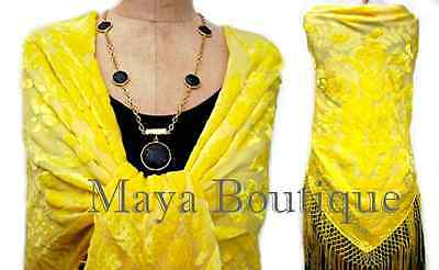 Buttercup Yellow Burnout Velvet Piano Shawl Wrap With Fringes Maya Matazaro