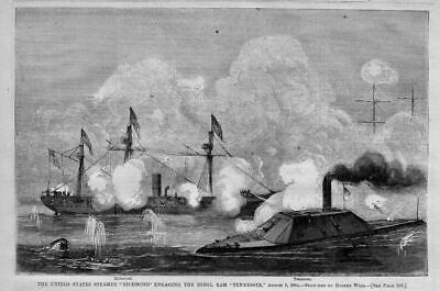 Civil War United States Steamer Richmond Engaging The Rebel Ram Tennessee