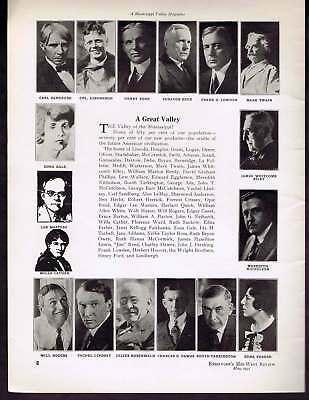 Famous Mississippi Valley Residents 1931 Lithograph