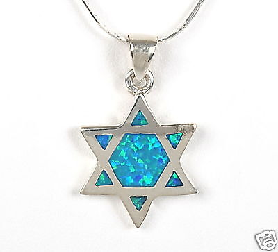 Magen Star of David 925 Silver Pendant & Necklace Designer Turquoise Opal Israel