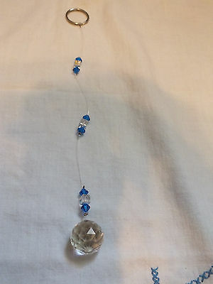 Crystal Suncatcher Dazzeling Blue AB Sq Handcrafted WOW