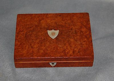 Antique French Burl Wood Brass and Mother of Pearl Box