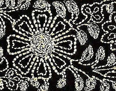 Wide, Embroidered, Iron-On Trim. 3 Yards. Gold on Black