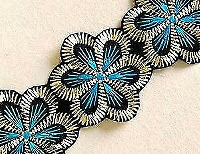 Wide, Iron-On Trim. 3 Yards. Turquoise Flowers