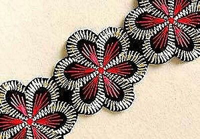Wide, Iron-On Trim. 3 Yards. Red Flowers