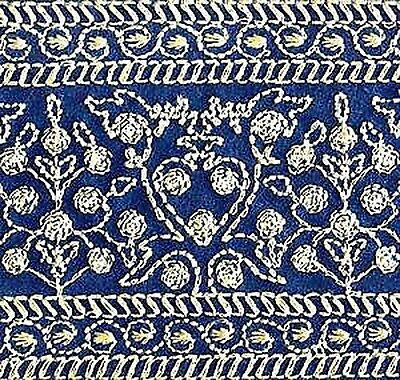 Wide, Iron-On Trim. Gold Embroidered on Blue. 3 Yards
