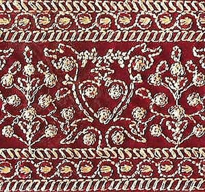 Wide, Iron-On Trim. Gold Embroidered on Red. 3 Yards