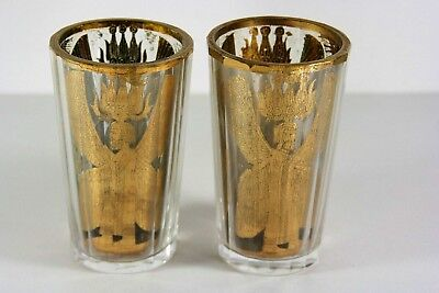 2x antique 18thC Bohemian Glass Zwischengoldbecher, Cyrus the Great Pasargadae