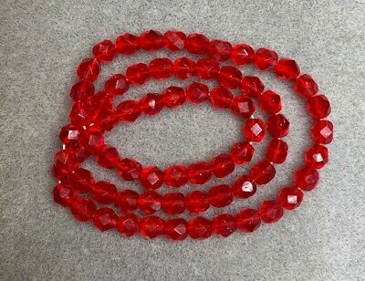 100 - 4mm Faceted Round Czech Glass Beads - Light Red