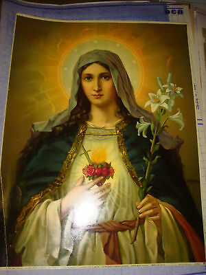 """Sacred Heart of Mary 15.5"""" X 20"""" Lithograph"""