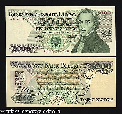Poland 5000 Zlotych P150 1988 Euro Chopin Music Unc Currency Money Bill Banknote