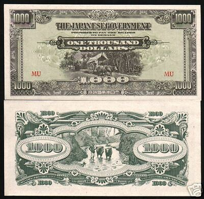 Malaya 1000 1,000 Dollars P M10 Ox Unc Japanese Occupation War Jim Malaysia Note